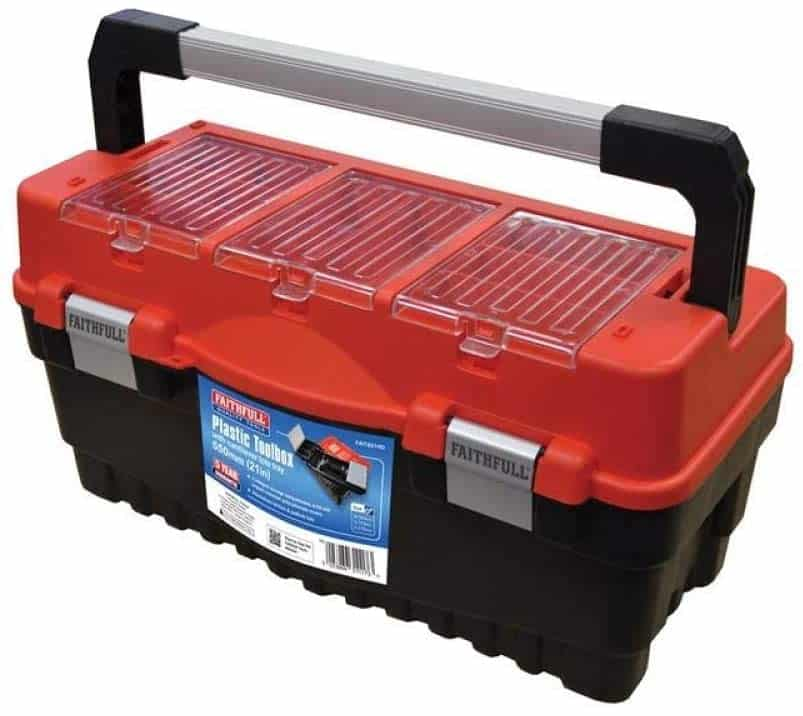 Faithfull TB21HD 21-Inch Cantilever Tote Tray and Organiser Lid Toolbox