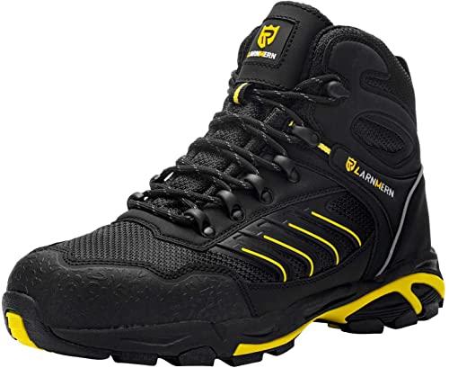 LARNMERN Steel Toe Cap Safety Work Shoes black Hi Vis