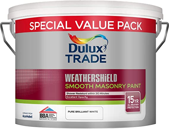 Dulux Trade Weathershield Smooth, Pure Brilliant White, best masonry paint