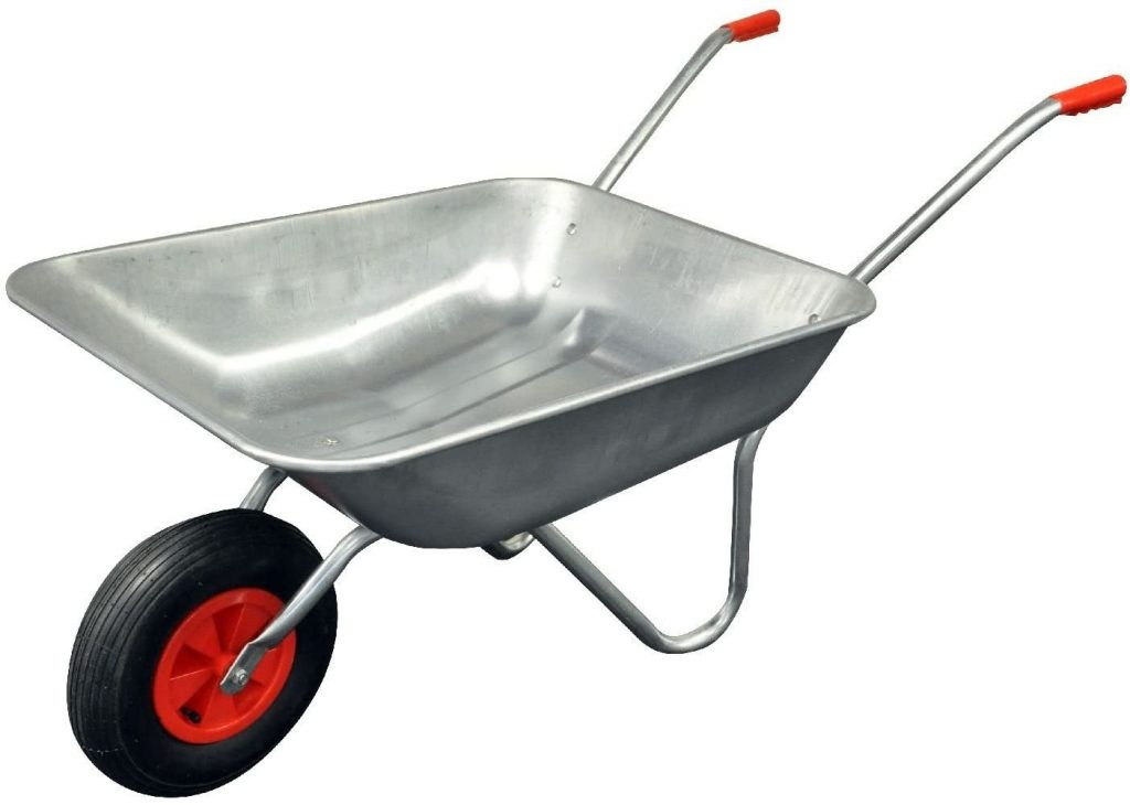 wheel barrow to mix for curved garden wall